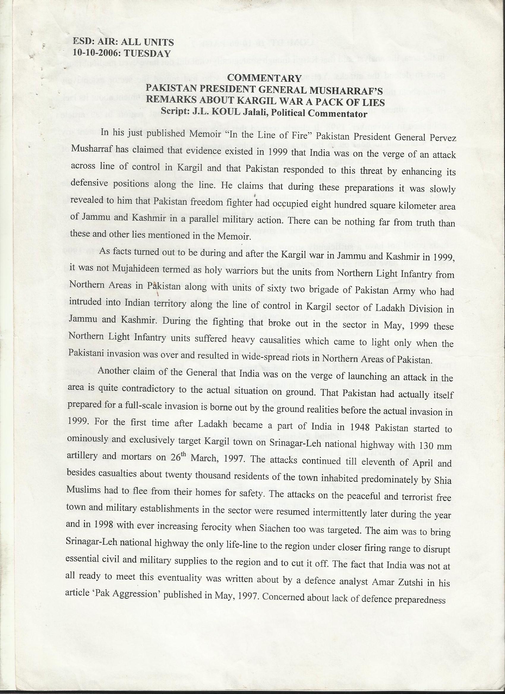 46)- FORMER PAK PRESIDENT'S DECEPTION ON KARGIL(Date of